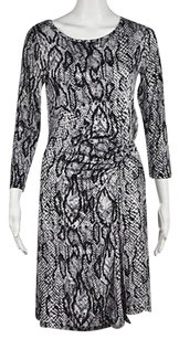 Neiman Marcus Womens Black Animal Print Knee Length Sheath Dress