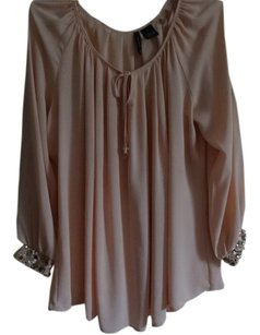 New Directions Top Peach with gold sequins