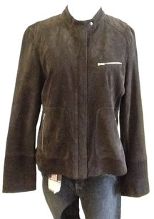 New Frontier 100% Leather 100% Polyester Chocolate dark brown Jacket