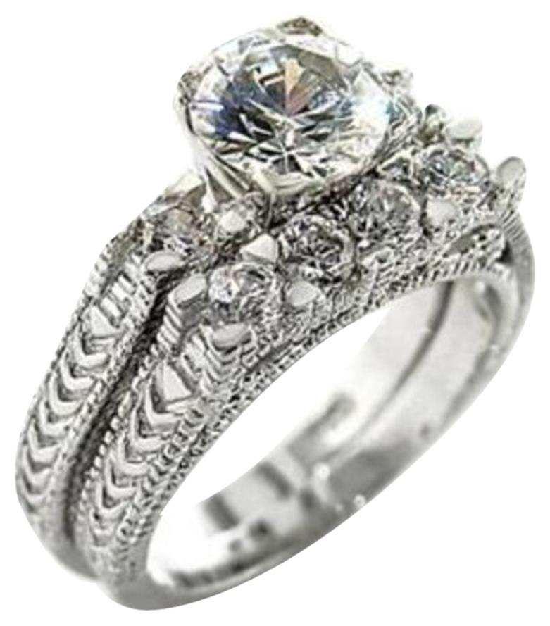 Other New Size 8, 3 CT RHODIUM PLATED CZ WEDDING SET ...