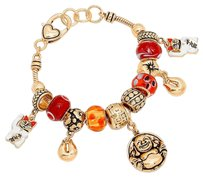 New York & Company Happy buddha & lucky cat charm colorful multi-bead bracelet