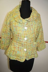 Nick & Mo Nick Mo Lime Green Orange Tweed Print Wool Blend White Button Blazer Med 24112