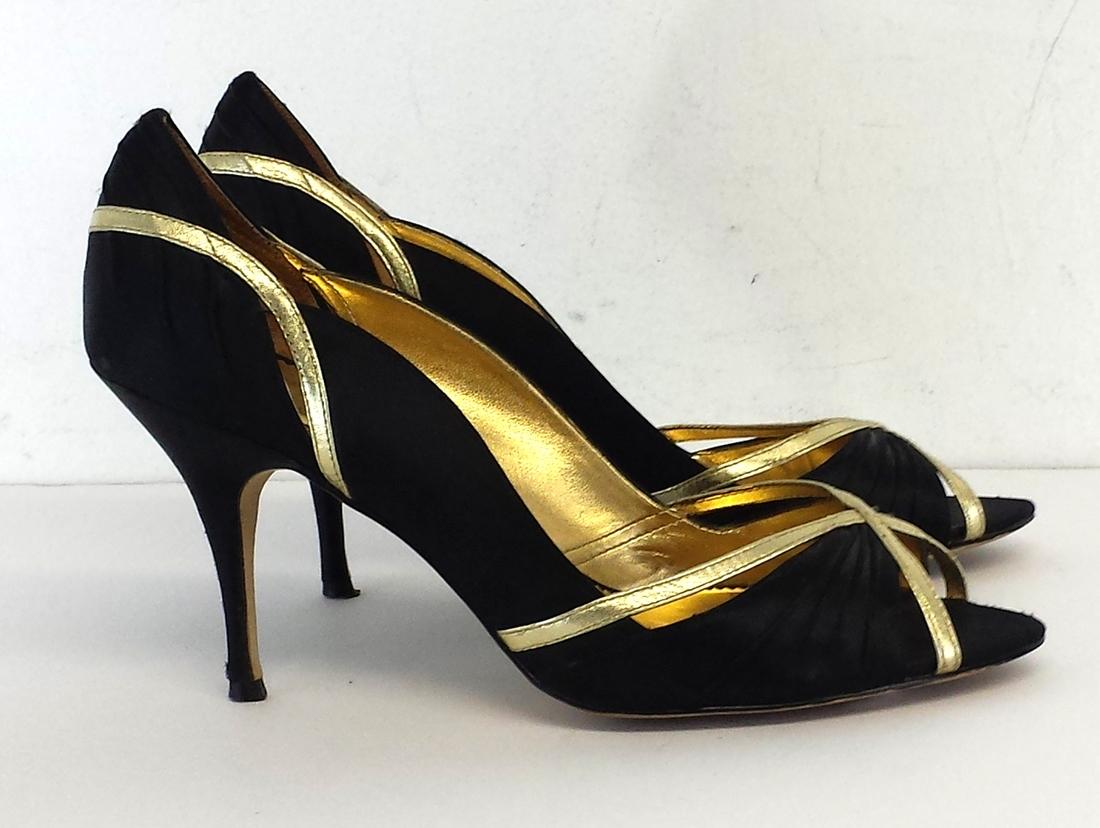 Nicole Miller Black &amp Gold Peep Toe Heels Pumps | Pumps on Sale
