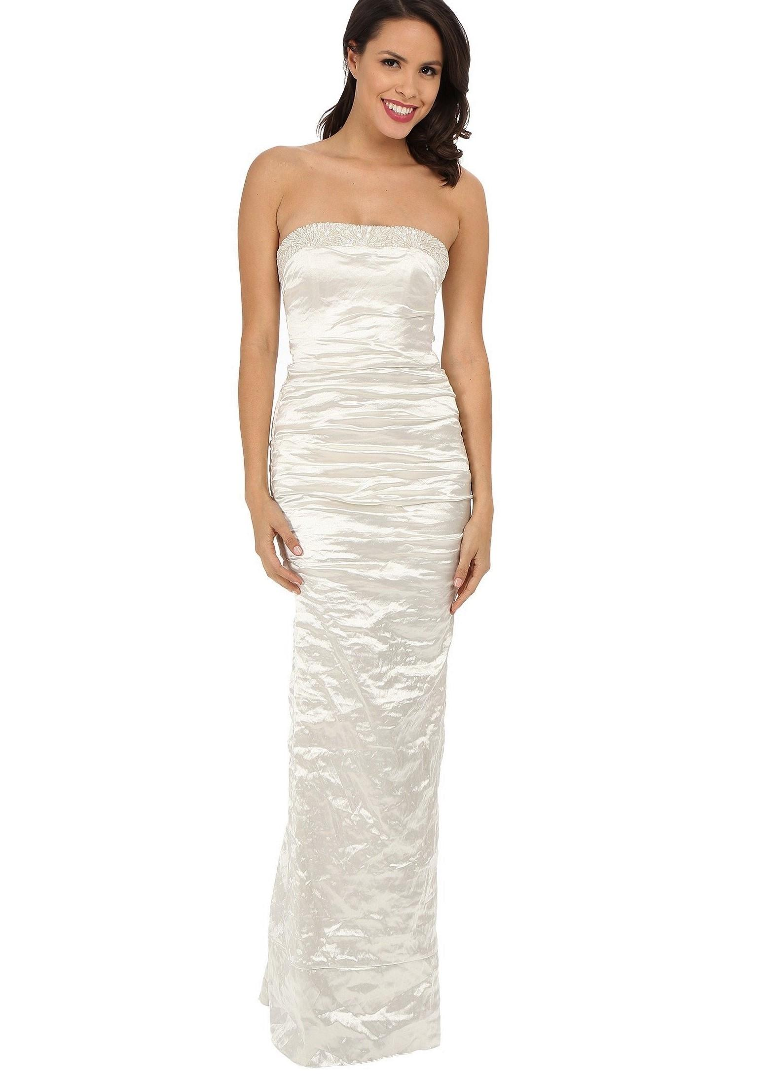 Beige colored strapless wedding dresses