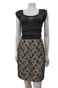 Nicole Miller Nude Floral Lace Overlay Skirt Black