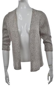 NIC+ZOE Nic Amp Zoe Womens Ivory Cardigan Metallic Open Front Sweater