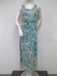 Multi-Color Maxi Dress by NIC+ZOE Aqua Paisley Print Chiffon Faint Impressions Maxi