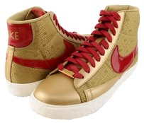 Nike Blazer Mid Yoth Metallic Gold Red Womens Designer Sneakers Multi-Color Athletic