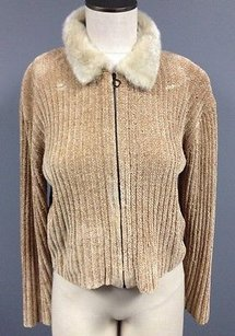 NILS Ribbed Full Zipper Fur Collar Long Sleeve Sweater Sm7132 Brown Jacket
