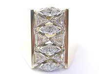 Nina 18kt Marquise Trillion Cut Diamond Cluster Yellowgold Wide Jewelry Ring 1.15ct