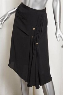 Nina Ricci Womans Silk Draped Skirt Black