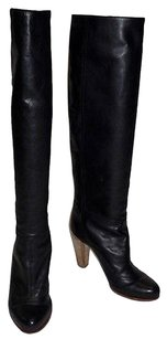 Nina Ricci Leather Knee High Pull On Stacked High Heeled Black Boots