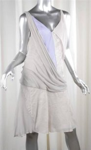 Nina Ricci short dress Gray Womens Silkcotton Sleeveless Draped Shift 408 on Tradesy