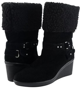 Nine West Noemie Suede Womens Designer Comfort Mid Calf 9.5 Black Boots