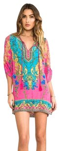 NLW short dress Hot Pink, Turquoise Boho Mini Beach on Tradesy