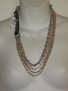 Nordstrom Nordstrom Gold Silver Link Faux Leather Buckle Layering Necklace