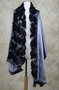 Nordstrom Nordstrom Womens Gray Black Beaded Scarf One Silk