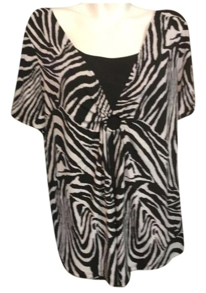 Notations Black And White Zebra All In Blouse Size 24 Plus 2x
