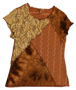 Notations Lace T Shirt Green/Brown
