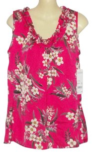 Notations New Satin Floral Print Top Multi-color