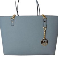 NWT MICHAEL KORS Jet Set Chain Item EW Tote Purse Powder Blue Saffiano Leather Tote