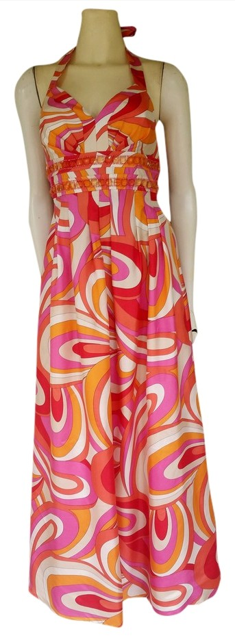 Evening Dress Orange Multicolor