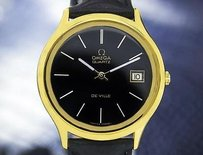 Omega Mens Swiss Omega Deville Gold Plated Quartz Watch Wdate Black Dial 6521