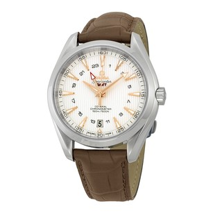 Omega Seamaster Aqua Terra GMT Silver Dial Brown Leather Men's Watch