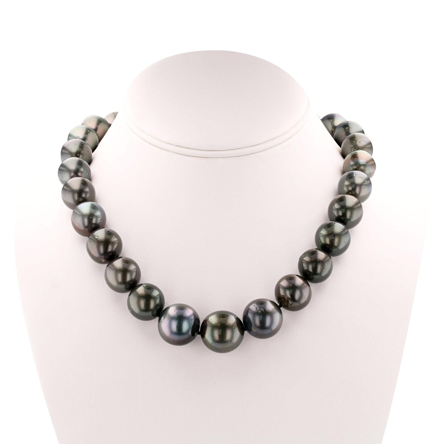 White Gold 14.0mm-18.0mm Tahitian Cultured Pearl Necklace ...