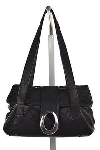 Oroton Womens Leather Casual Solid Handbag Satchel in Black