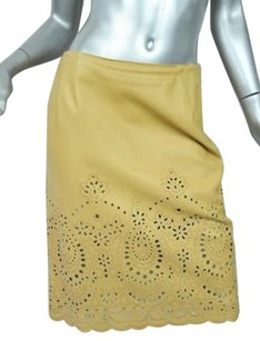 Oscar de la Renta Leather Eyelets Skirt Beiges