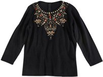 Oscar de la Renta Black Cashmere Bar Sweater