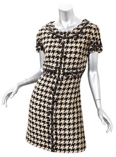 Oscar de la Renta short dress Womens Browncream Houndstooth Shift on Tradesy