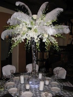 red wedding decorations ostrich feather centerpieces black and white tradesy 7031