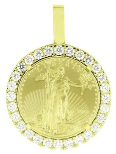 1 Ounce Lady Liberty Coin Pendant 10k Gold Round Cut Diamonds Carats Classy