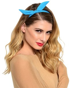 1 PC Women Solid Colors Wire Bow tie Bunny Ears Ribbon Bendy Elastic Headband