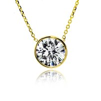1.06 Ct Tw Round Cut Diamond Solitaire Bezel Pendant Set In 14k Yellow Gold 16
