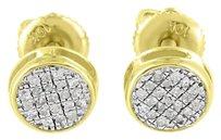 Other 10k Gold Round Earrings Genuine Diamonds Screw Back Mm Studs Mens Ladies Sale