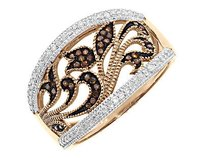 Other 10k Rose Gold Ladies Red White Diamond Filigree Fashion Cocktail Band Ring 14ct