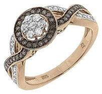 Other 10k Rose Gold Round Brown White Diamond Halo Engagement Fashion Ring 0.47 Ct