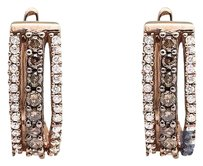 Other 10k Rose Gold Three Row Brown And White Genuine Diamond Hoop Earrings 0.55ct