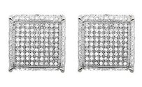 10k White Gold 3d Dice Square Cube Genuine Diamond 11.5mm Stud Earrings 2.0ct.