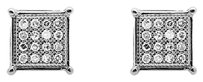 Other 10k White Gold 6mm Sharp Square Kite Genuine Diamond Stud Earring 0.15ct.