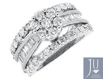 10k White Gold Flower Cluster Round And Baguette Diamond Engagement Ring 3.0ct.