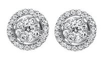 Other 10k White Gold Halo Flower Round Genuine Diamond 7mm Stud Earrings 0.50ct