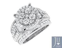 10k White Gold Halo Round And Baguette Cut Engagement Wedding Diamond Ring 3.0ct