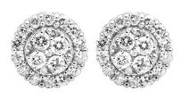 10k White Gold Halo Scallop Frame Round Genuine Diamond 7mm Stud Earrings 1.0ct