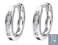 10k White Gold Invisible Set One Row Baguette Cut Diamond Hoop Earring 0.15ct
