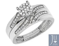 10k White Gold Menladies Flower Swirl Diamond Wedding Ring Band Trio Set 12ct