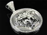 10k White Gold Mens Mini Diamond Medusa Head Piece Greek Pendant Charm .65 Ct